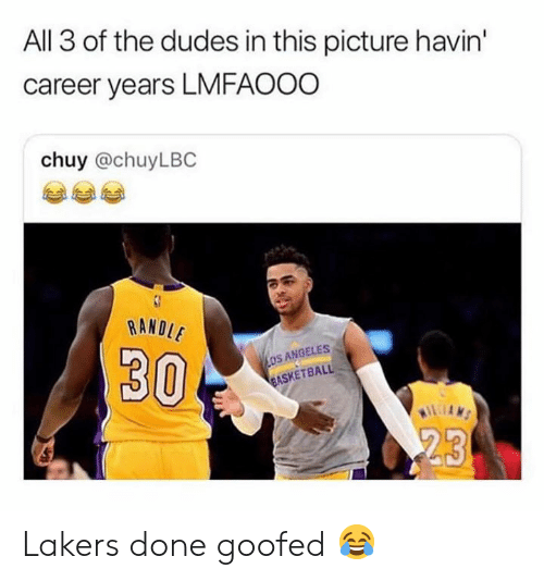 Los Angeles Lakers, Nba, and All: All 3 of the dudes in this picture havin'  career years LMFAOOO  chuy @chuyLBC  RANDI  30  OS ANGELES  ASKETBALL Lakers done goofed 😂