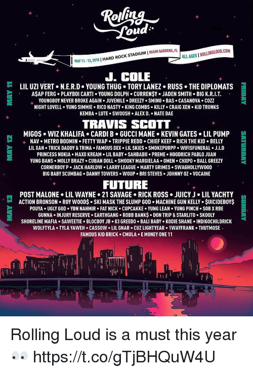 Chief Keef, Fetty Wap, and Funny: ALL AGES I ROLLINGLOUD.COM  1-13, 2018 | HARD ROCK STADIUM I MIAMI GARDENS, FU  J. COLE  岿  LIL UZI VERT+ N.ER.D-YOUNG THUG-TORY LANEZ-RUSS·THE DIPLOMATS  AŞAP FERG. PLAYBOI CARTI YOUNG DOLPH. CURRENŞY. JADEN SMITH BIG K.R.I.T  YOUNGBOY NEVER BROKE AGAIN . JUVENILE . DREEZY . SMINO . BAS . CASANOVA . COZZ  NIGHT LOVELL YUNG SIMMIE. RICO NASTY KING COMBS KILLY CRAIG XEN KID TRUNKS  KEMBA.LUTE. SW0OSH ALEX D. . NATE DAE  TRAVIS SCOTT  MIGOS WIZ KHALIFA CARDI B GUCCI MANE KEVIN GATES LIL PUMP  +  NAV  METRO BOOMIN  FETTY WAP-TRIPPIE REDD-CHIEF KEEF-RICH THE KID . BELLY  LIL XAN TRICK DADDY & TRINA FAMOUS DEX LIL SKIES SMOKEPURPP. WIFISFUNERAL J.I.D  PRINCESS NOKIA MAXO KREAM LIL ABY SAHBABII PREME HOODRICH PABLO JUAN  YUNG BANS . MOLLY BRAZY . CUBAN DOLL . SMOOKY MARGIELAA+ OMEN . CHXPO-BALL GREEZY  CORNERBOY P . JACK HARLOW LARRY LEAGUE-HARTY GRIMES . SWAGHOLLYWOOD  BIG BABY SCUMBAG DANNY TOWERS WOOP. BRI STEVES JOHNNY OZ VOCAINE  FUTURE  POST MALONE . LIL WAYNE> 21 SAVAGE-RICK ROSS . JUICY J·LIL YACHTY  ACTION BRONSON . ROY w0ODs-SKI MASK THE SLUMP GOD . MACHINE GUN KELLY . $UICIDEBOY$  POUYA UGLY GOD YBN NAHMIR FAT NICK CUPCAKKE YUNG LEAN YUNG PINCH SOB X RBE  GUNNA . INJURY RESERVE . EARTHGANG-ROBB BANKs-DON TRIP & STARLITO-SKOOLY  SHORELINE MAFIA+ SAWEETIE-BLOCBOYJB-03 GREEDO . BALI BABY-KODIE SHANE-INDIGOCHILDRICK  WOLFTYLA+ TYLA YAWEH-CASSOW-LIL GNAR . CUZ LIGHTYEAR> 1WAYFRANK . THUTMOS  FAMOUS KID BRICK CMULA E MONEY ONE 11  門  E Rolling Loud is a must this year 👀 https://t.co/gTjBHQuW4U