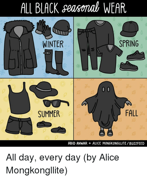 Fall, Memes, and Winter: ALL BLACKseasomal WEAR  WINTER  SPRING  2%  SUMMER  FALL  2%  ABID ANWAR ALICE MONGKONGLLITE/BUZZFEED All day, every day (by Alice Mongkongllite)