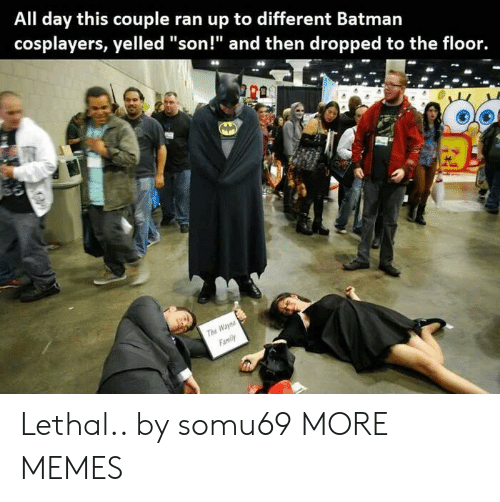 "Dank, Family, and Memes: All day this couple ran up to different Batmarn  cosplayers, yelled ""son!"" and then dropped to the floor.  The  Family Lethal.. by somu69 MORE MEMES"