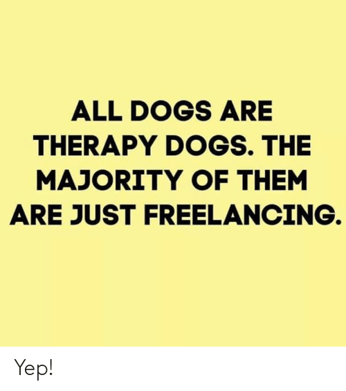 Dogs, Memes, and 🤖: ALL DOGS ARE  THERAPY DOGS. THE  MAJORITY OF THEM  ARE JUST FREELANCING Yep!