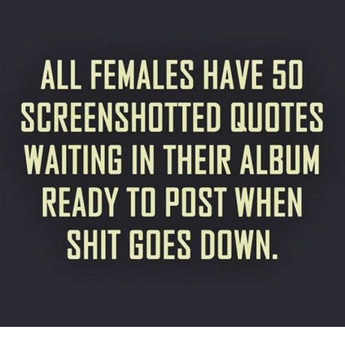 Memes, Shit, and Quotes: ALL FEMALES HAVE 50  SCREENSHOTTED QUOTES  WAITING IN THEIR ALBUM  READY TO POST WHEN  SHIT GOES DOWN  OBE  El-HN  EU  VE A W W  HDRTO  EESD  ETH PO ES  ETIPE  STH0S  LI O  NOO  AllIG  GYT  ENNDH  LETA  LRIE  AC  AR  SI W