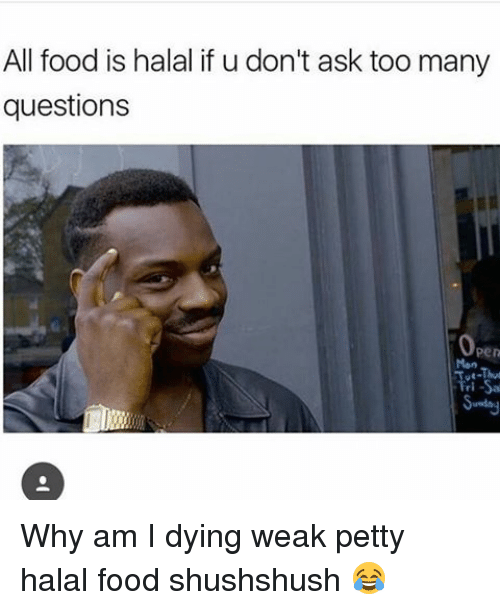 Memes, 🤖, and Halal: All food is halal if u don't ask too many  questions  Pen Why am I dying weak petty halal food shushshush 😂