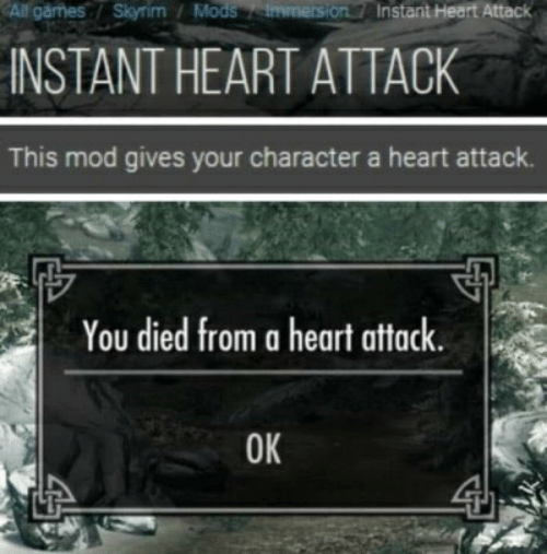 All Garmes Skyrim Mods Immersion7 Instant Heart Attack