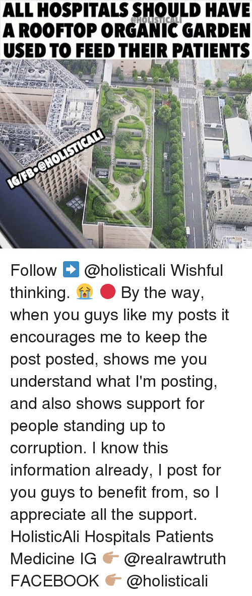 Facebook, Memes, and Appreciate: ALL HOSPITALS SHOULD HAVE  A ROOFTOP ORGANIC GARDEN  USED TO FEEDTHEIR PATIENTS  IGIFBOCHOLISTICALI Follow ➡️ @holisticali Wishful thinking. 😭 🔴 By the way, when you guys like my posts it encourages me to keep the post posted, shows me you understand what I'm posting, and also shows support for people standing up to corruption. I know this information already, I post for you guys to benefit from, so I appreciate all the support. HolisticAli Hospitals Patients Medicine IG 👉🏽 @realrawtruth FACEBOOK 👉🏽 @holisticali
