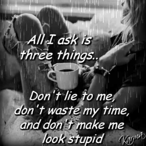 Time, Ask, and Lie to Me: All I ask is  three things..  Don't lie to me  don't waste my time,  and don t make me  look stupidK