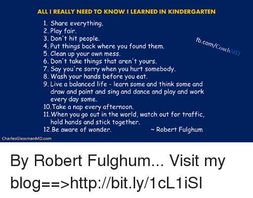 All I Really Need to Know I Learned In Kindergarten, Part ...