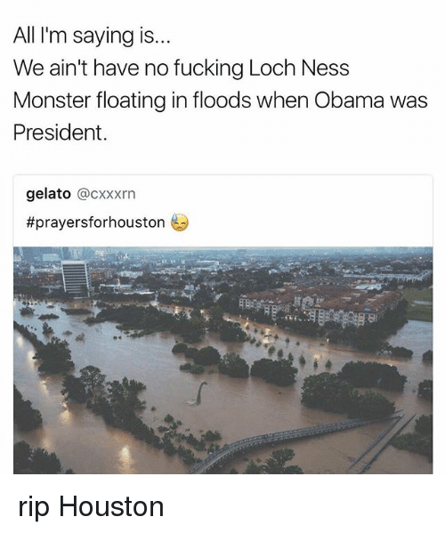 Fucking, Loch Ness Monster, and Memes: All I'm saying is..  We ain't have no fucking Loch Ness  Monster floating in floods when Obama was  President  gelato @CXxxrn  rip Houston