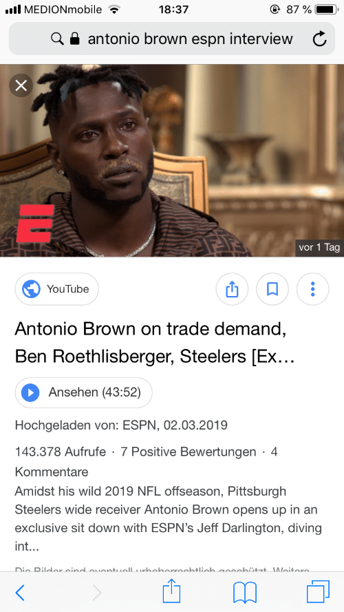 All MEDIONmobile 1837 87 % a Antonio Brown Espn Interview C Vor 1