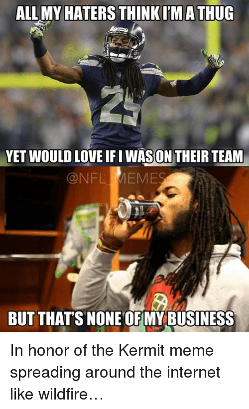 Nfl, The Internet, and Team: ALL MY HATERS  THINK IMATHUG  YET WOULD LOVE ON THEIR TEAM  QNFL MEME  BUT THAT'S NONE OFMY BUSINESS In honor of the Kermit meme spreading around the internet like wildfire…