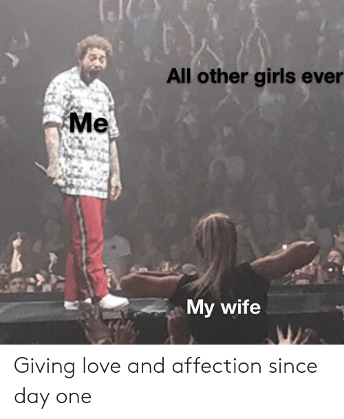 Girls, Love, and Wife: All other girls ever  Me  My wife  WZ Giving love and affection since day one
