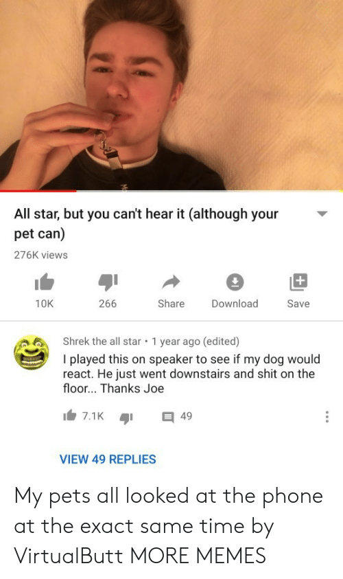 All Star, Dank, and Memes: All star, but you can't hear it (although your  pet can)  276K views  +  266  Share  10K  Download  Save  Shrek the all star  1 year ago (edited)  I played this on speaker to see if my dog would  react. He just went downstairs and shit on the  floor... Thanks Joe  7.1K  49  VIEW 49 REPLIES My pets all looked at the phone at the exact same time by VirtualButt MORE MEMES