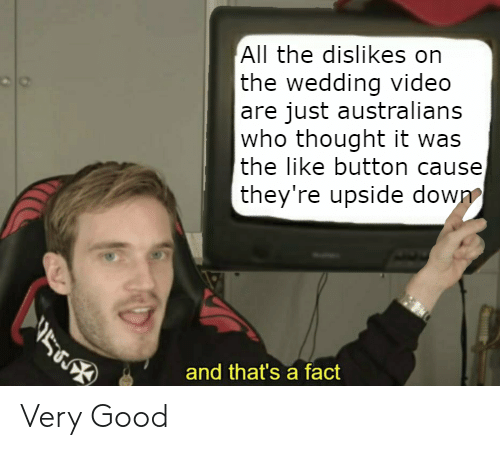 Good, Video, and Wedding: All the dislikes on  the wedding video  are just australians  who thought it was  the like button cause  they're upside down  5  and that's a fact Very Good