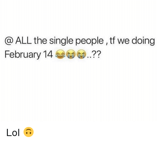 Funny, Lol, and Single: @ ALL the single people , tf we doing  February 14?? Lol 🙃