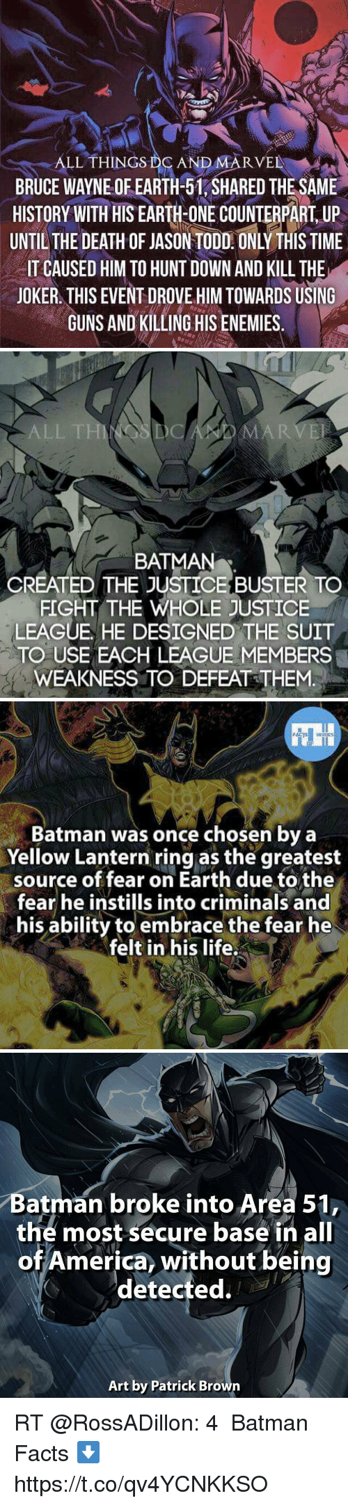 America, Batman, and Facts: ALL THINGS DCNDMARVE  BRUCE WAYNE OF EARTH-51, SHARED THESAME  HISTORY WITH HIS EARHONECONTERPART UP  UNTIL THE DEATH OF JASON TODD. ONLY THIS TIME  IT CAUSED HIM TO HUNT DOWN AND KILL THE  JOKER. THIS EVENT DROVE HIM TOWARDS USING  GUNS AND KILLING HIS ENEMIES.   ALL  ARVE  BATMAN  CREATED THE JUSTICE BUSTER TO  FIGHT THE WHOLE JUSTICE  LEAGUE HE DESIGNED THE SUIT  TO USE EACH LEAGUE MEMBERS  WEAKNESS TO DEFEAT THEM.   Batman was once chosen by a  Yellow Lantern ring as the greatest  source of fear on Earth due to the  fear he instills into criminals and  his ability to embrace the fear he  felt in his life.   Batman broke into Area 51  the most secure base in all  of America, without being  detected  Art by Patrick Browrn RT @RossADillon: 4️⃣ Batman Facts ⬇️ https://t.co/qv4YCNKKSO