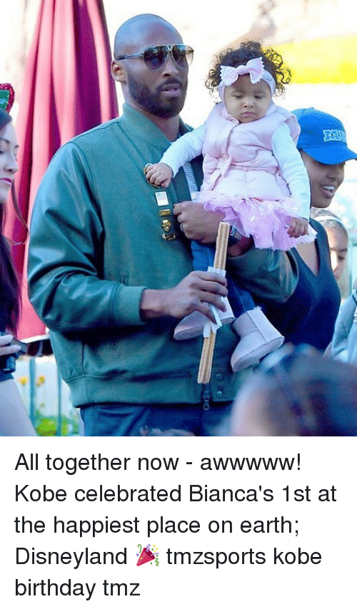 Birthday, Disneyland, and Memes: All together now - awwwww! Kobe celebrated Bianca's 1st at the happiest place on earth; Disneyland 🎉 tmzsports kobe birthday tmz