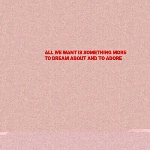 Dream, Adore, and All: ALL WE WANT IS SOMETHING MORE  TO DREAM ABOUT AND TO ADORE