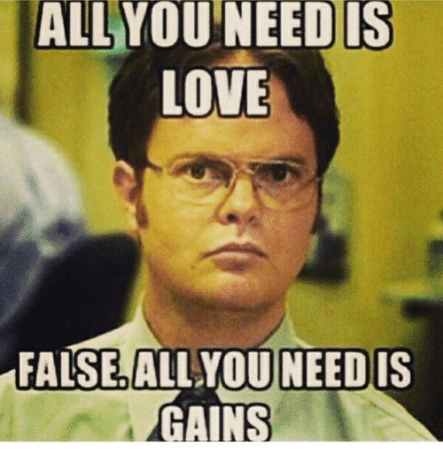 Love, Memes, and 🤖: ALL  YOU NEED IS  LOVE  FALSE ALL YOU NEEDIS  GAINS