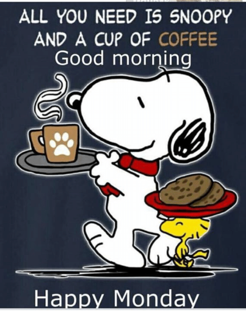 ALL YOU NEED IS SNOOPY AND a CUP OF COFFEE Good Morning ...