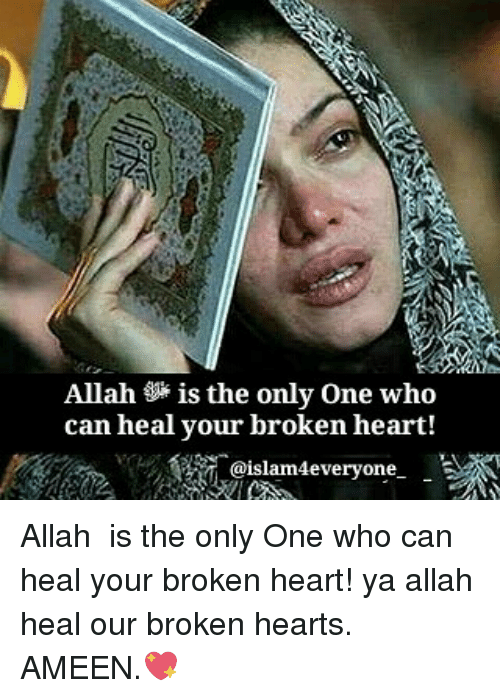 Memes, Heart, and Hearts: Allah is the only One who  can heal your broken heart!  islam4everyone- Allah ﷻ is the only One who can heal your broken heart! ya allah heal our broken hearts. AMEEN.💖