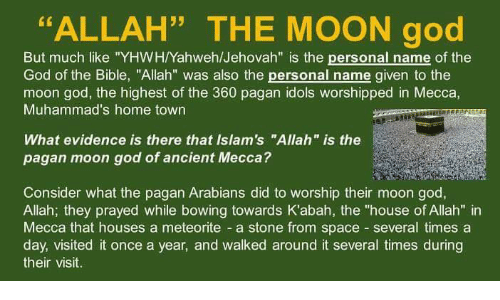 ALLAH THE MOON God but Much Like YHWHYahwehJehovah Is the Personal