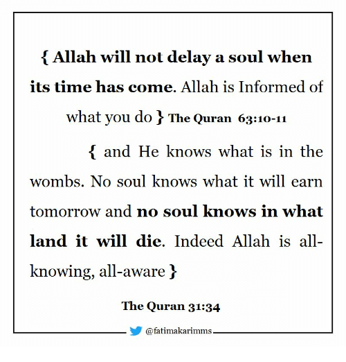 Indeed, Quran, and Time: { Allah will not delay a soul when  its time has come. Allah is Informed of  what you do f The Quran 63:10-11  and He knows what is in the  wombs. No soul knows what it will earn  tomorrow and no soul knows in whait  land it will die. Indeed Allah is all-  knowing, all-aware]  The Quran 31:3.4  @fatimakarimms