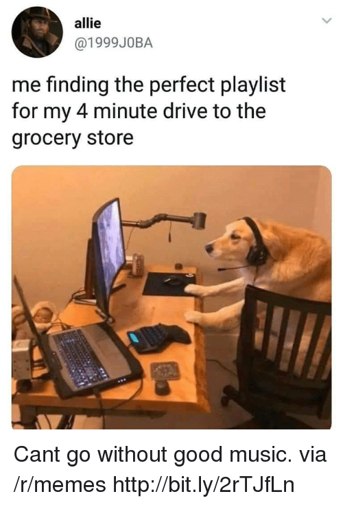 Memes, Music, and Drive: allie  @1999J0BA  me finding the perfect playlist  for my 4 minute drive to the  grocery store Cant go without good music. via /r/memes http://bit.ly/2rTJfLn
