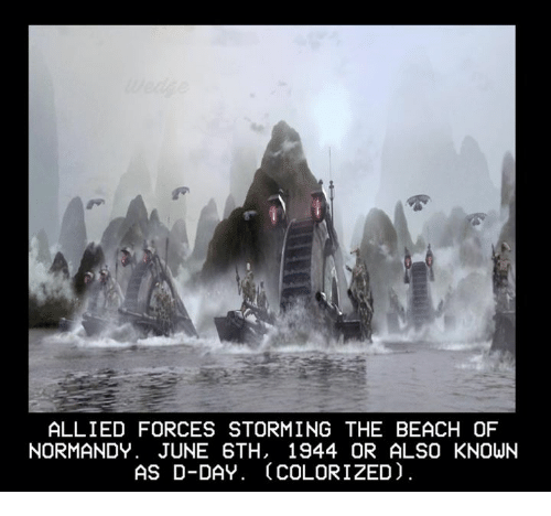 ALLIED FORCES STORMING THE BEACH OF NORMANDY JUNE 6TH 1944