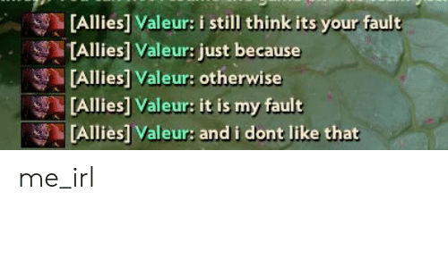Irl, Me IRL, and Think: [Allies] Valeur: i still think its your fault  [Allies] Valeur: just because  [Alliesl Valeur: otherwise  [Allies] Valeur: it is my fault  [Allies] Valeur: and i dont like that me_irl