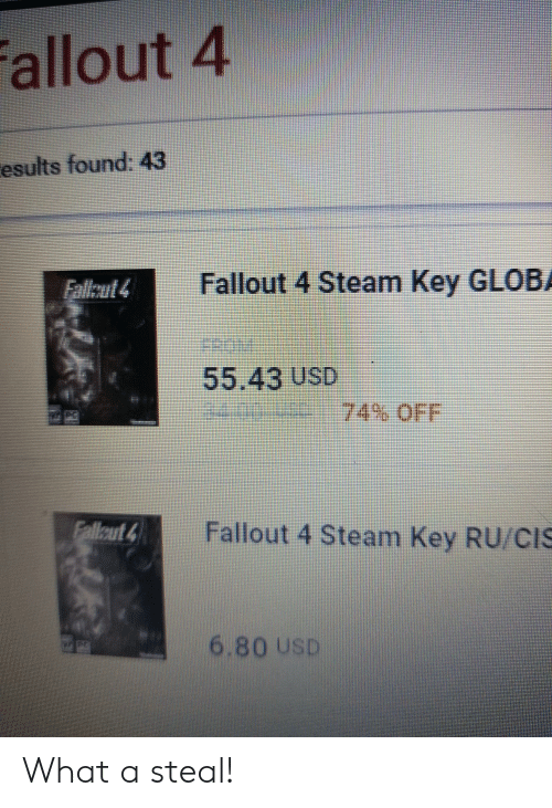 Allout 4 Esults Found 43 Fallout 4 Steam Key GLOBA 5543 USD Fallout