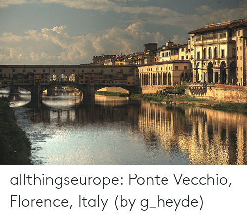 Tumblr, Blog, and Flickr: allthingseurope:  Ponte Vecchio, Florence, Italy (by g_heyde)