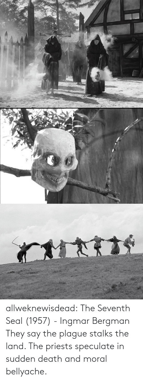 Tumblr, Blog, and Death: allweknewisdead:   The Seventh Seal (1957) - Ingmar Bergman   They say the plague stalks the land. The priests speculate in sudden death and moral bellyache.