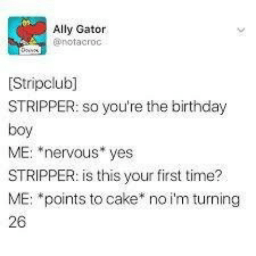 """Birthday, Ally, and Cake: Ally Gator  @notacroc  Stripclub]  STRIPPER: so you're the birthday  boy  ME: """"nervous* yes  STRIPPER: is this your first time?  ME: *points to cake* no i'm turning  26"""