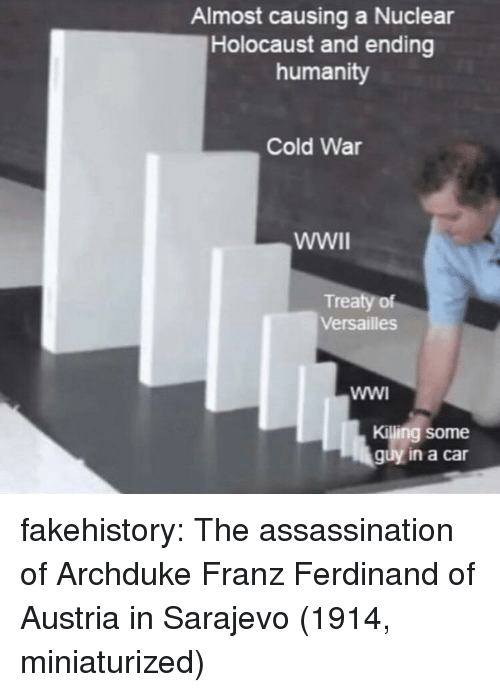 Assassination, Tumblr, and Blog: Almost causing a Nuclear  Holocaust and ending  humanity  Cold War  Treaty of  Versailles  Killing some  guy in a car fakehistory:  The assassination of Archduke Franz Ferdinand of Austria in Sarajevo (1914, miniaturized)