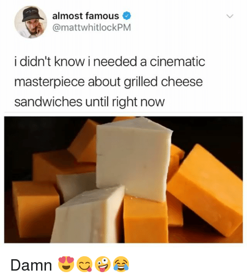 Girl Memes, Almost Famous, and Cheese: almost famous  @mattwhitlockPM  i didn't know i needed a cinematic  masterpiece about grilled cheese  sandwiches until right now Damn 😍😋🤪😂