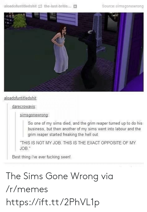 Fucking, Memes, and The Sims: aloadofuntitledshit the-last-britis...  Source: simsgonewrong  aloadofuntitledshit  darecrowavis  So one of my sims died, and the grim reaper turned up to do his  business, but then another of my sims went into labour and the  grim reaper started freaking the hell out  THIS IS NOT MY JOB. THIS IS THE EXACT OPPOSITE OF MY  JOB.  Best thing i've ever fucking seen! The Sims Gone Wrong via /r/memes https://ift.tt/2PhVL1p