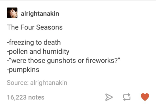 """Death, Fireworks, and Humans of Tumblr: alrightanakin  The Four Seasons  -freezing to death  pollen and humidity  were those gunshots or fireworks?""""  -pumpkins  Source: alrightanakin  16,223 notes"""