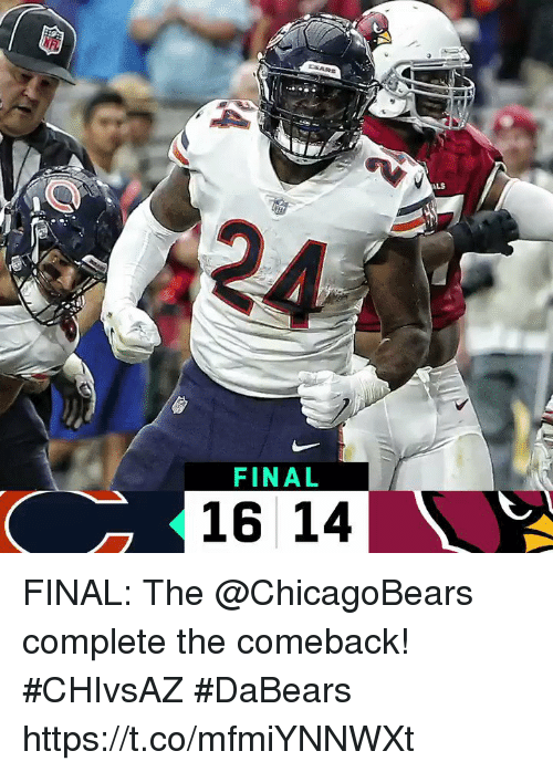 Memes, 🤖, and Als: ALS  2A  FINAL  16 14 FINAL: The @ChicagoBears complete the comeback! #CHIvsAZ  #DaBears https://t.co/mfmiYNNWXt