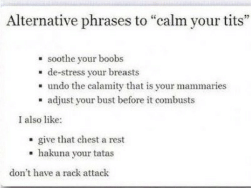 "Tits, Boobs, and Rest: Alternative phrases to ""calm your tits""  soothe your boobs  - de-stress your breasts  . undo the calamity that is your mammaries  - adjust your bust before it combusts  I also like:  - give that chest a rest  hakuna your tatas  don't have a rack attack"