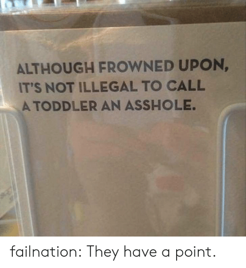 Tumblr, Blog, and Http: ALTHOUGH FROWNED UPON  IT'S NOT ILLEGAL TO CALL  A TODDLER AN ASSHOLE. failnation:  They have a point.