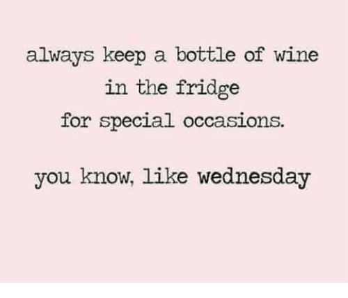 Memes, 🤖, and Specials: always keep a bottle of wine  in the fridge  for special occasions.  you know, like Wednesday