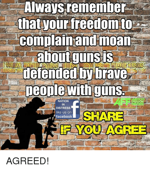 Guns, Memes, and Brave: Always remember  that your freedom to  complain and moan  about guns  defended by brave  people with guns  NATION  IN  DISTRESS  SHARE  like us on  facebook AGREED!