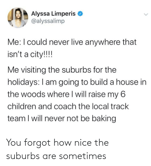 Children, House, and Live: Alyssa Limperis  @alyssalimp  Me:I could never live anywhere that  isn't a city!!!!  Me visiting the suburbs for the  holidays: I am going to build a house in  the woods where I will raise my 6  children and coach the local track  team I will never not be baking You forgot how nice the suburbs are sometimes