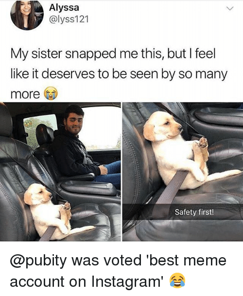 Instagram, Meme, and Memes: Alyssa  @lyss121  My sister snapped me this, but I feel  like it deserves to be seen by so many  more  Safety first! @pubity was voted 'best meme account on Instagram' 😂