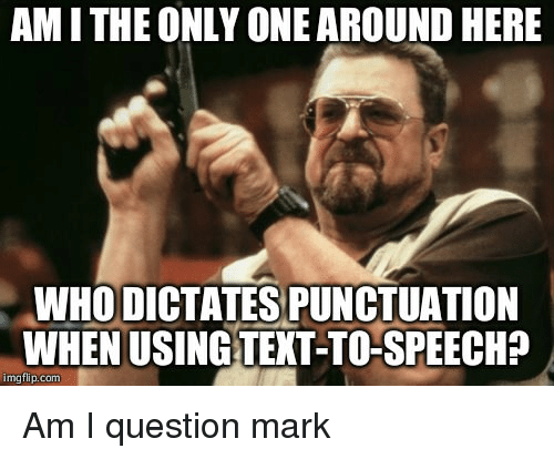 Only One, Advice Animals, and Am I the Only One: AM I THE ONLY ONE AROUND HERE  WHO DICTATES PUNCTUATION  WHEN USINGTENT-TO-SPEECHA  imgflip.com Am I question mark