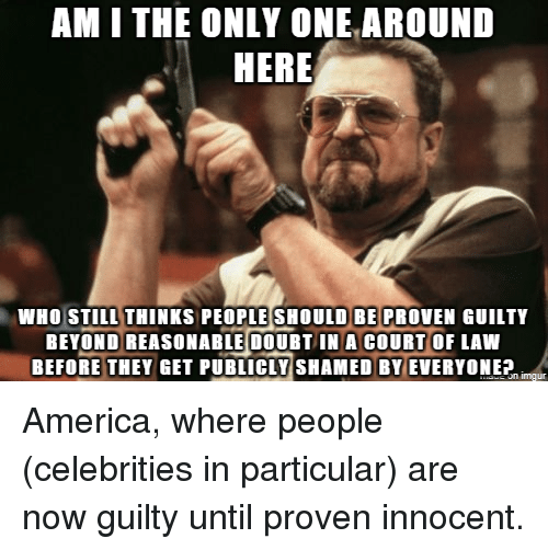 America, Only One, and Advice Animals: AM I THE ONLY ONE AROUND  HERE  WHO STILL THINKS PEOPLE SHOULD BE PROVEN GUILTY  BEYOND REASONABLE DOUBTIN A COURT OF LAW  BEFORE THEYGET PUBLICLY SHAMED BY EVERYONE America, where people (celebrities in particular) are now guilty until proven innocent.