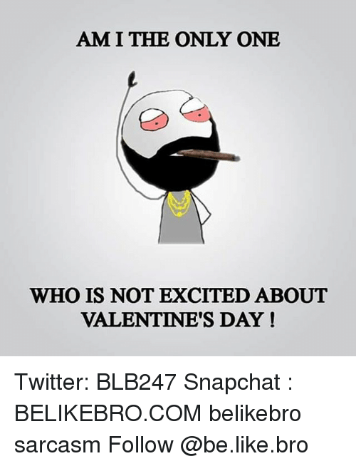 Memes, Am I the Only One, and 🤖: AM I THE ONLY ONE  WHO IS NOT EXCITED ABOUT  VALENTINE'S DAY! Twitter: BLB247 Snapchat : BELIKEBRO.COM belikebro sarcasm Follow @be.like.bro