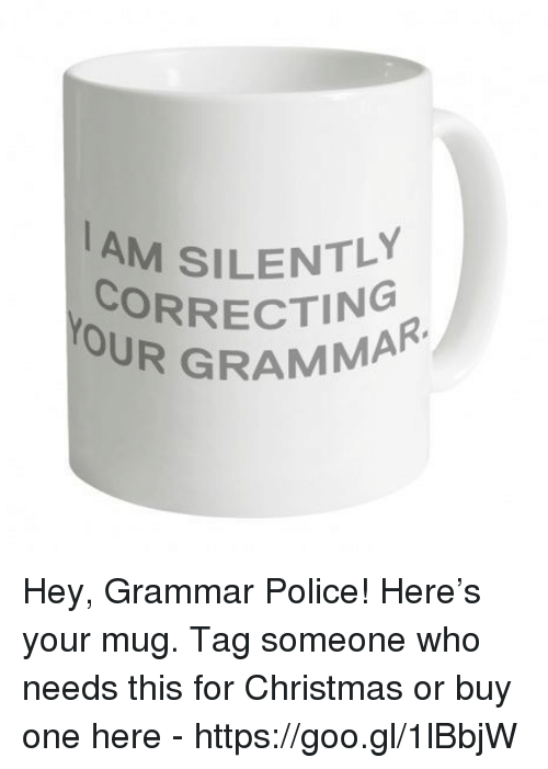 Police, Tag Someone, and Dank Memes: AM SILENTLY  CORRECTING  OUR GRAMMAR Hey, Grammar Police! Here's your mug.  Tag someone who needs this for Christmas or buy one here -   https://goo.gl/1lBbjW