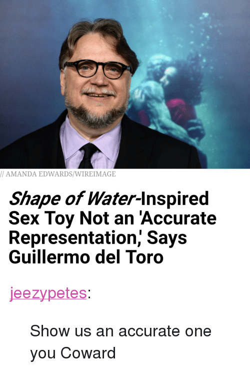 "Sex, Tumblr, and Blog: AMANDA EDWARDS/WIREIMAGE  Shape of Water-lnspired  Sex Toy Not an 'Accurate  Representation, Says  Guillermo del Toro <p><a href=""http://jeezypetes.tumblr.com/post/170963596278/show-us-an-accurate-one-you-coward"" class=""tumblr_blog"">jeezypetes</a>:</p>  <blockquote><p>Show us an accurate one you Coward</p></blockquote>"