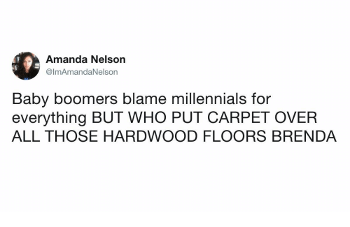 Millennials Baby And Who Amanda Nelson Lmamandanelson Boomers Blame For